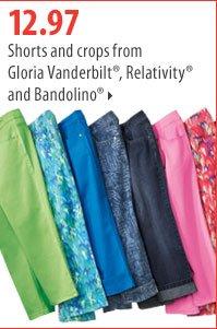 12.97 Shorts and crops from Gloria Vanderbilt®, Relativity® and Bandolino®.