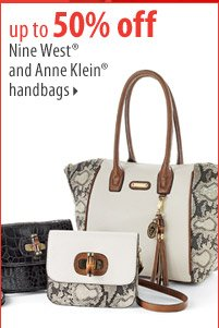 up to 50% off Nine West® and Anne Klein® handbags.