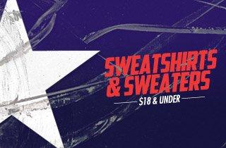 Sweatshirts & Sweaters: $18 & Under