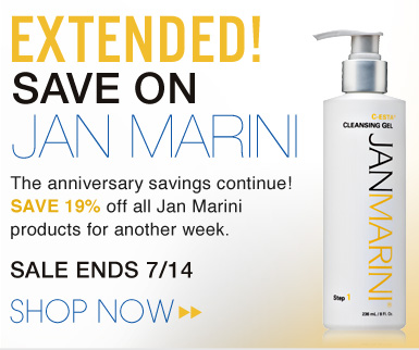 Anniversary Celebration's Extended! Jan Marini has extended their 19th Anniversary celebrations with 19% off for ONE more week! Sale ends 7/14 Shop Now>>
