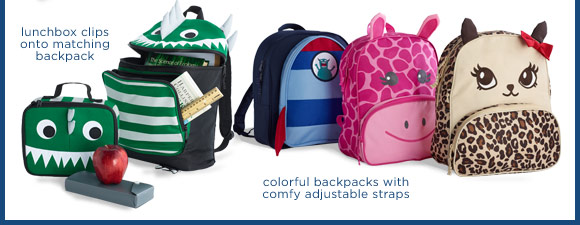 lunchbox clips onto matching backpack. colorful backpacks with comfy adjustable straps.