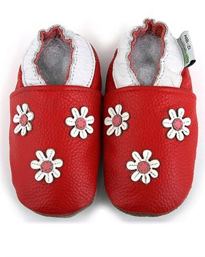 Augusta Baby Leather Three Flowers Pram Shoes