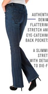Authentic denim, flattering stretch and eye-catching back pockets