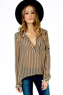 LANDING STRIPES CHIFFON TOP 33