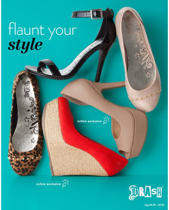 Find the perfect pair of Brash flats, pumps or wedges starting at just $10.00 with BOGO!