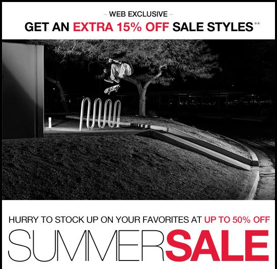 Get an extra 15% off sale styles**