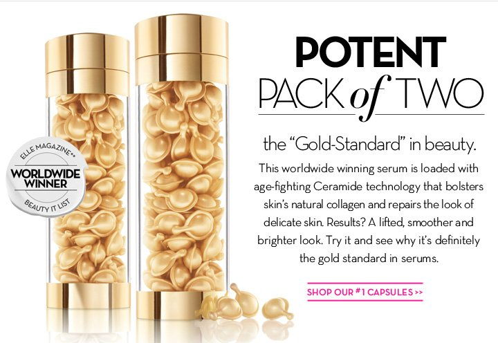 "POTENT PACK of TWO. The ""Gold-Standard"" in beauty. This worldwide winning serum is loaded with age-fighting Ceramide technology that bolsters skin's natural collagen and repair the look of delicate skin. Results? A lifted, smoother and brighter look. Try it and see why it's definitely the gold standard in serums. SHOP OUR #1 CAPSULES."