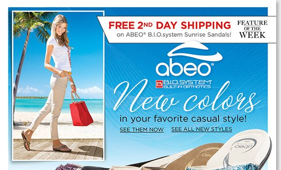 New Feature of the Week! Enjoy FREE 2nd Day Shipping on the NEW ABEO B.I.O.system 'Sunrise' sandals, your favorite casual style!* Shop now and experience the revolutionary custom 3-D fit comfort of B.I.O.system technology featuring built-in orthotics. Find the best selection at The Walking Company.