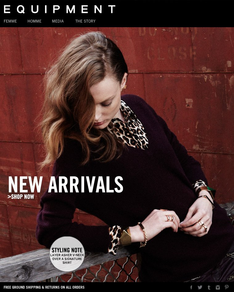 NEW ARRIVALS >SHOP NOW STYLING NOTE LAYER ASHER V-NECK OVER A SIGNATURE SHIRT