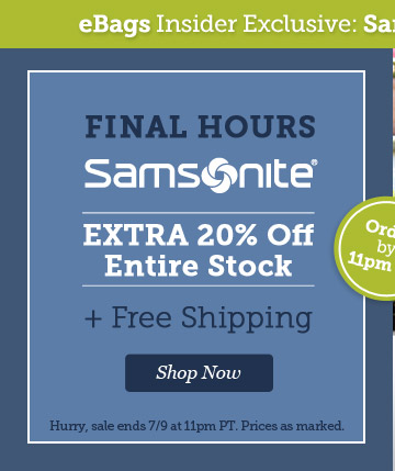 Final Hours! Samsonite Private Sale. Extra 20% Off + Free Shipping. Shop Now.