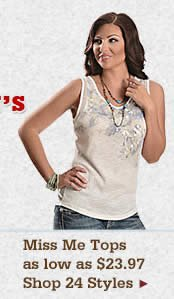 Womens Miss Me Tops on Sale