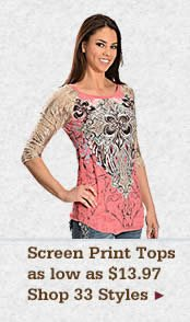 Womens Screen Print Tops on Sale