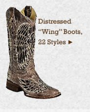Womens Distressed Wing Boots on Sale
