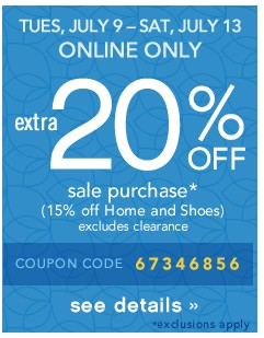 ONLINE ONLY. Extra 20% off. See details.
