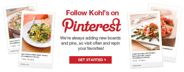 Follow Kohl's on Pinterest. We're always adding new boards and pins, so visit often and repin your favorites!
