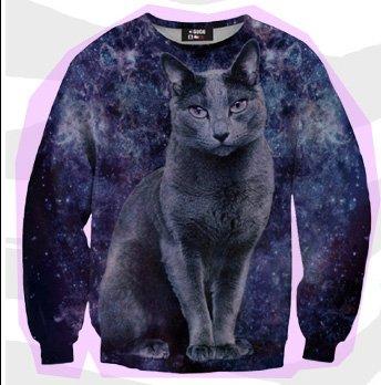 Mr. Gugu & Miss Go Cat In Space Print Sweater