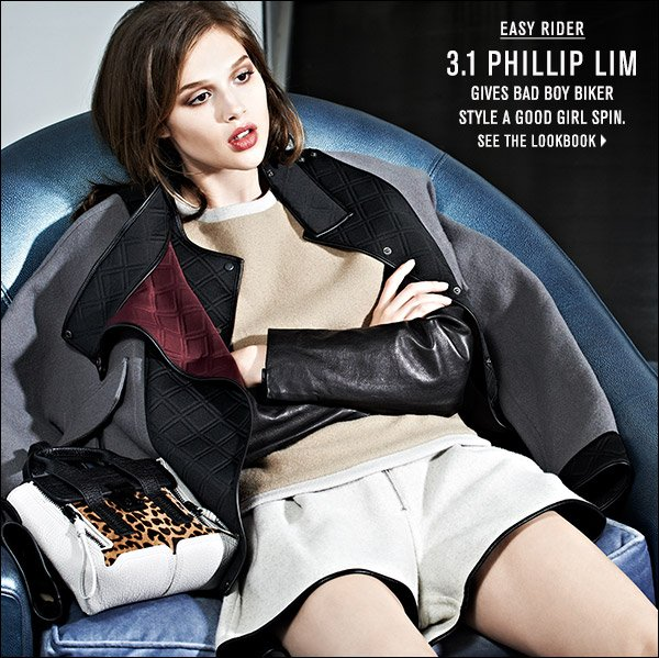3.1 Phillip Lim's new fall collection gives bad-boy biker style a good-girl spin. Shop now >>