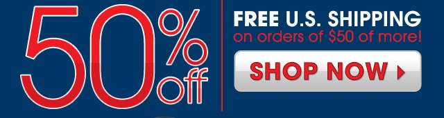 Nautica 50% OFF plus Free U.S. Shipping on orders of $50 or more!