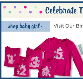 Celebrate The Big Day! Visit our birthday shop! Shop Baby Girl