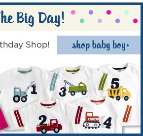 Celebrate The Big Day! Visit our birthday shop! Shop Baby Boy