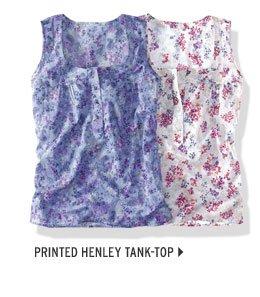 Printed Henley Tank Top