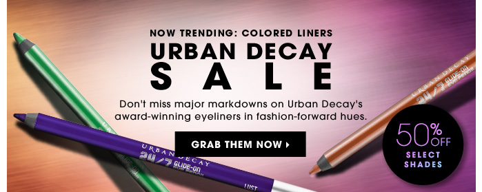 Urban Decay Sale. Don't miss major markdowns on Urban Decay's award-winning eye liners in fashion-forward hues. 50% off select shades. Grab them now