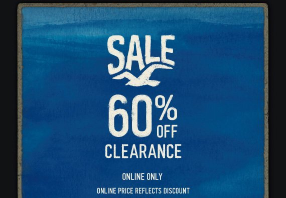 SALE 60% OFF CLEARANCE ONLINE ONLY ONLINE PRICE REFLECTS DISCOUNT