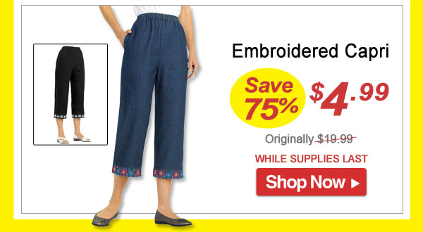 Embroidered Capris - Save 75% - Now Only $4.99 Limited Time Offer