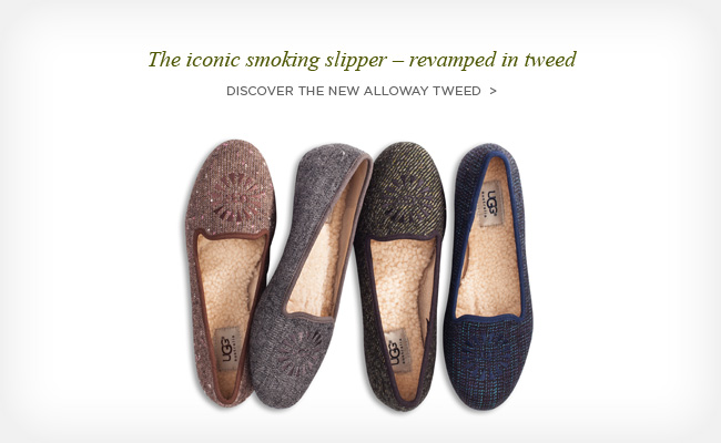 The iconic smoking slipper – revamped in tweed - Discover the new Alloway Tweed >