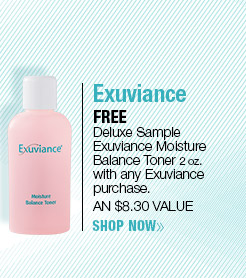 FREE Exuviance Deluxe Sample Moisture Balance Toner 2 oz. with any Exuviance  purchase. AN $8.30 VALUE! SHOP NOW