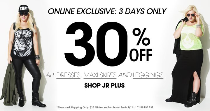 Shop 30% OFF All Dresses, Maxi Skirts & Leggings!