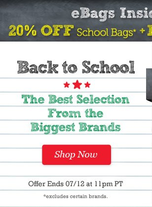20% Off All School Bags + Free Shipping over $25. 2 Days Only! Shop Now.