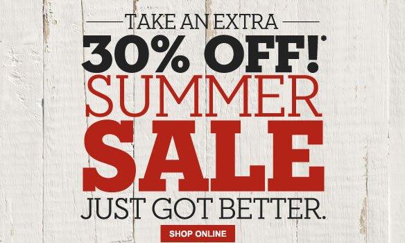Take an extra 30% off!* Summer sale just got better. Shop Online