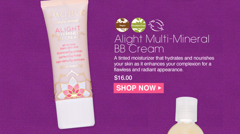 Paraben-free. Vegan Pacifica Alight Multi-Mineral BB Cream A tinted moisturizer that hydrates and nourishes your skin as it enhances your complexion for a flawless and radiant appearance. $16.00 Shop Now>>