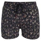 Black Shark Tooth Print Swim Shorts Shorts