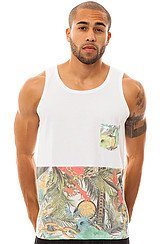 The Trop Chain Pocket Tank in White with Half Trop Chain