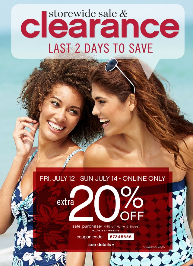 Storewide Sale &ampl Clearance. Last 2 days to save. Extra 20% off. See Details.