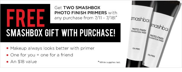 Free Smashbox gift with purchase!