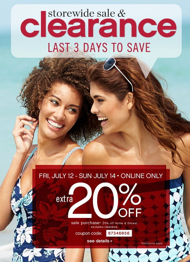 Storewide Sale &ampl Clearance. Last 3 days to save. Extra 20% off. See Details.