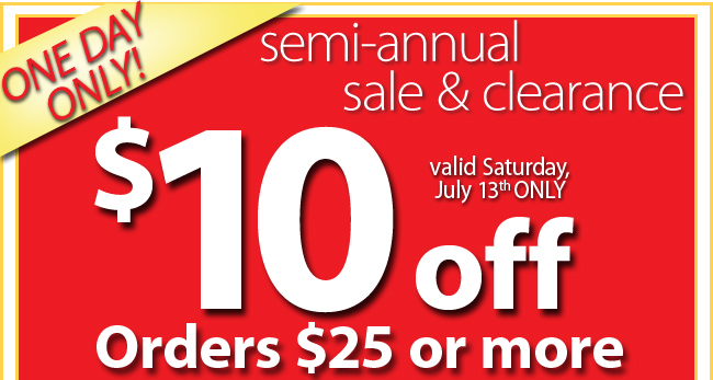 Final hours of the semi-annual sale and clearance save an extra $10 on orders of $30 or more