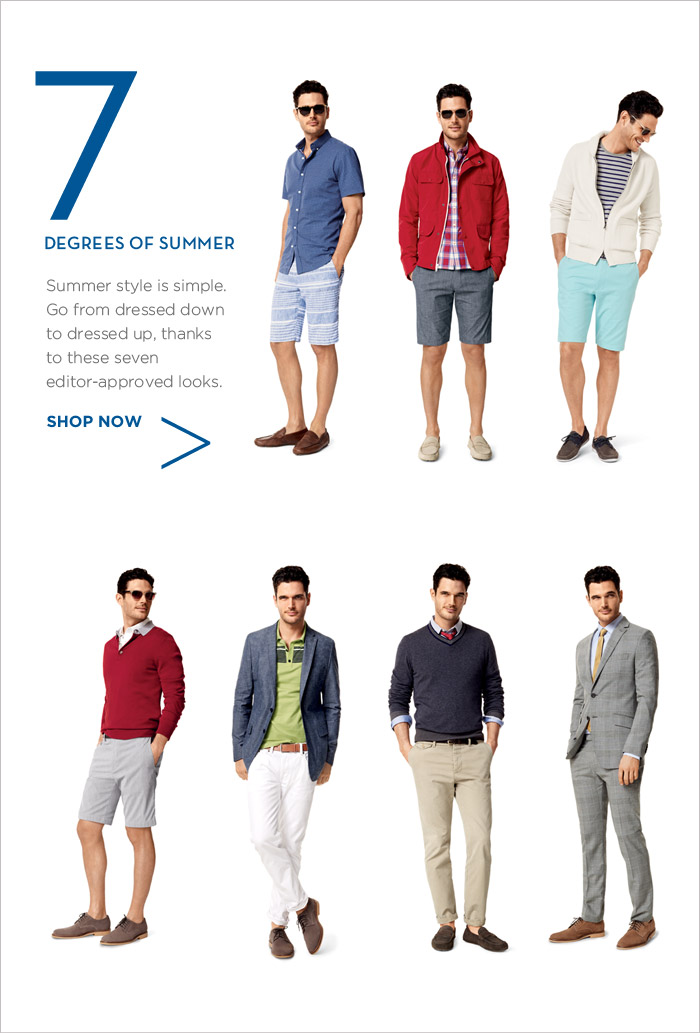 7 DEGREES OF SUMMER | Summer style is simple. Go from dressed down to dressed up, thanks to these seven editor-approved looks.  SHOP NOW