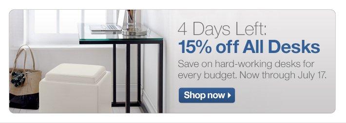 4 Days Left: 15% off All Desks