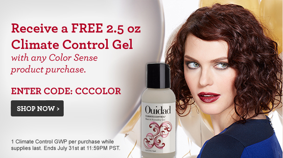 Receive a FREE 2.5 oz Climate Control Gel with any Color Sense product purchase. Enter Code: CCCOLOR 1 Climate Control GWP per purchase while supplies last. Ends July 31st at 11:59PM PST.