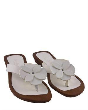 La Bellatrix Genuine Leather Flower Detail Sandals Made In Italy