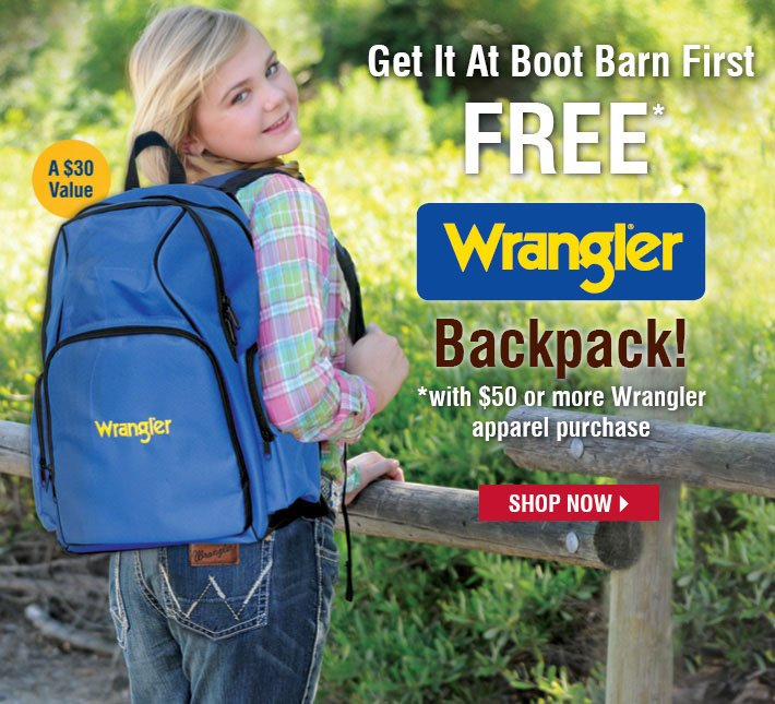 Free wrangler Back with $50 or more Wrangler Apparel Purchase