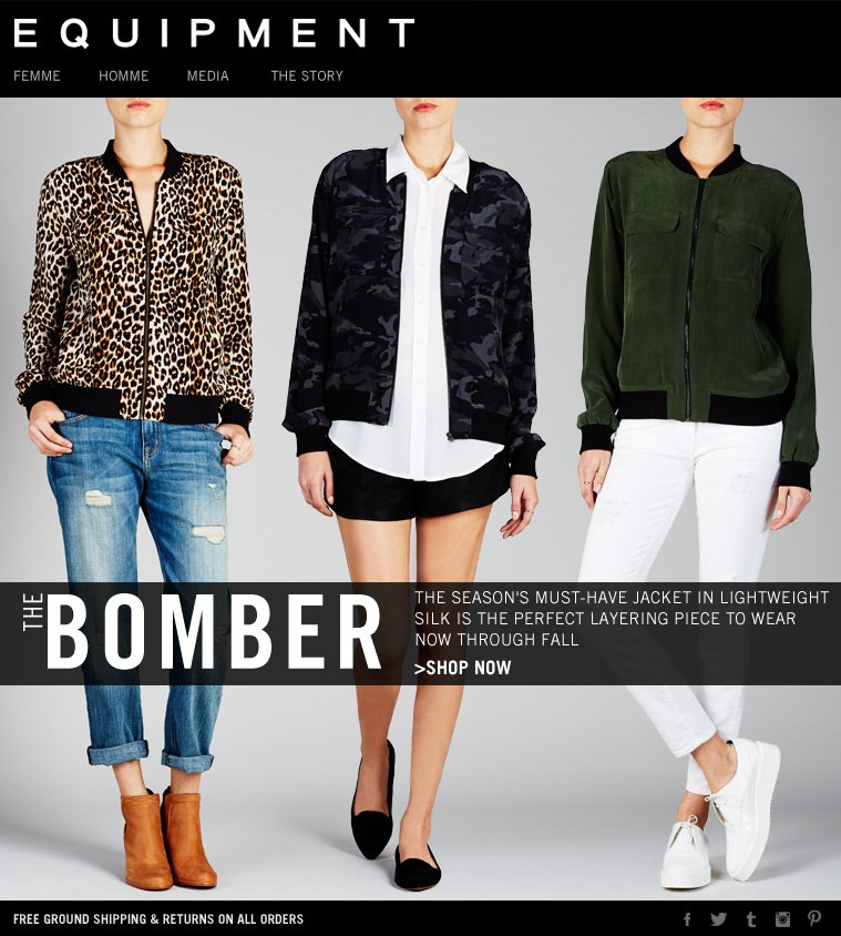 THE BOMBER THE SEASON'S MUST-HAVE JACKET IN LIGHTWEIGHT SILK IS THE PERFECT LAYERING PIECE TO WEAR NOW THROUGH FALL >SHOP NOW