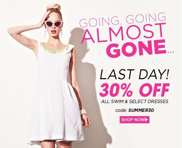 30% Off All Swim & Select Dresses