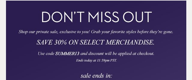 Dont' miss out, 30% off with code below   Shop Now