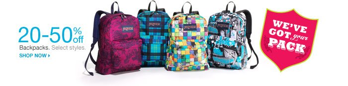 We've got your pack. 20-50% off Backpacks. Select styles. Shop now.