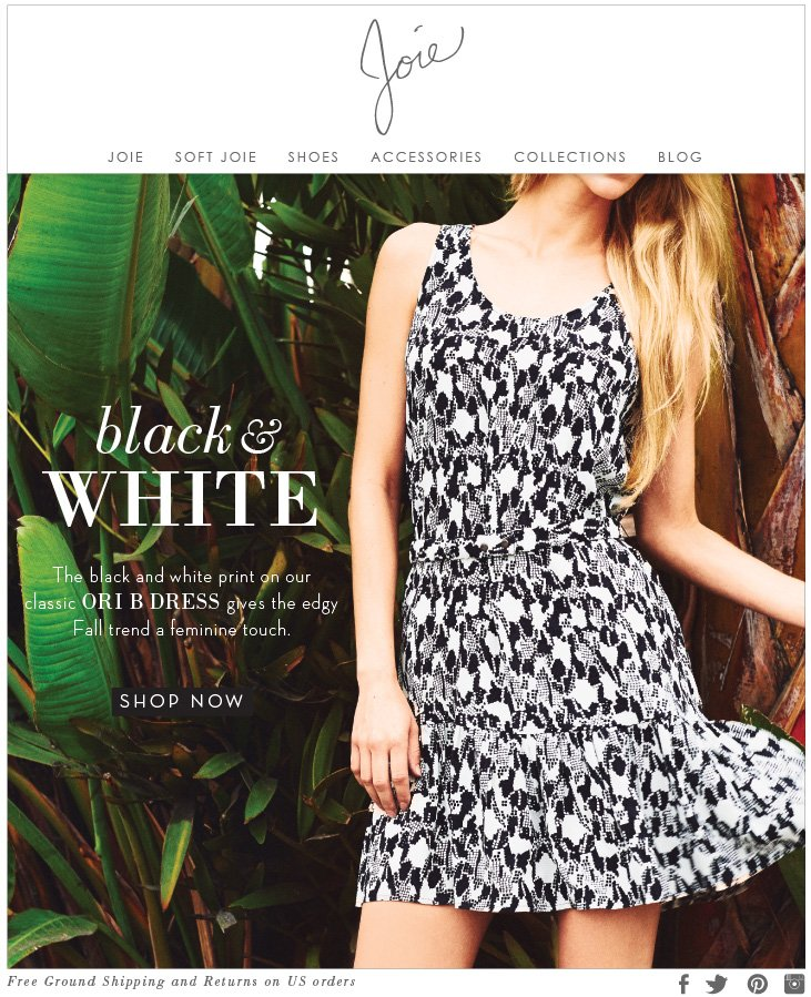 black & WHITE The black and white print on our classic ORI B DRESS gives the edgy Fall trend a feminine touch SHOP NOW